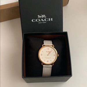 Rose Gold Coach Watch with White Leather Strap